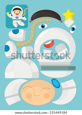 Cartoon exercise with scissors for childlren - astronaut - illustration for the children - stock photo