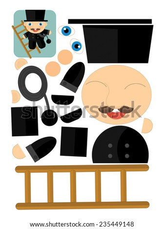 Cartoon exercise with scissors for childlren - chimney sweep - illustration for the children - stock photo