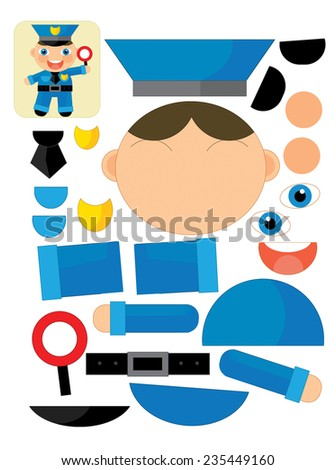 Cartoon exercise with scissors for childlren - policeman - illustration for the children - stock photo