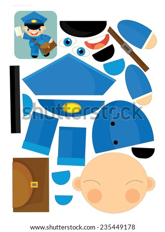 Cartoon exercise with scissors for childlren - postman - illustration for the children - stock photo