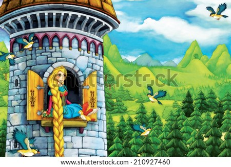 Cartoon fairy tale - illustration for the children - stock photo