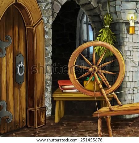 Cartoon fairy tale scene - illustration for the children - stock photo
