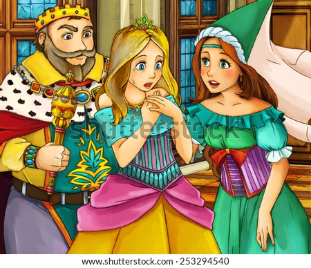 Cartoon fairy tale scene - king and queen - illustration for the children - stock photo