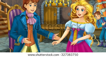 Cartoon fairy tale scene - with prince and princess - illustration for the children - stock photo