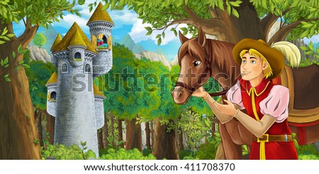 Cartoon fairy tale scene with prince encountering hidden tower - illustration for children - stock photo