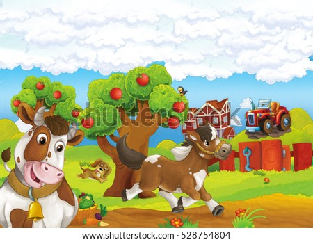 Cartoon farm happy scene with running horse dog and standing cow - illustration for children