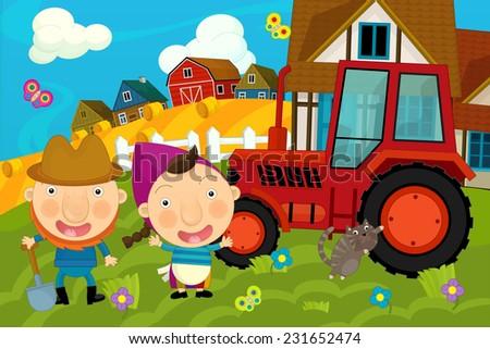 Cartoon farm scene - farmer and his wife near the tractor - illustration for the children - stock photo