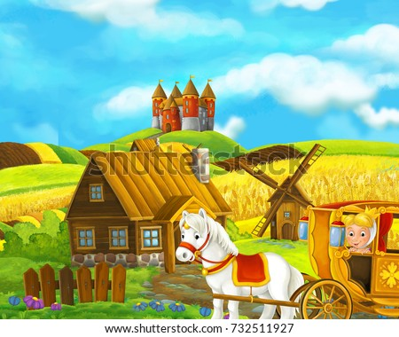 Cartoon farm scene of traditional village with castle in the background - royal carriage visiting wooden settlement - illustration for children