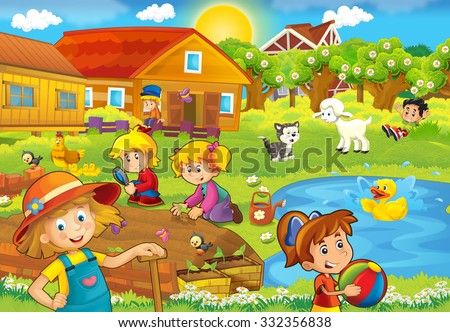 Cartoon farm scene with kids- illustration for the children - stock photo