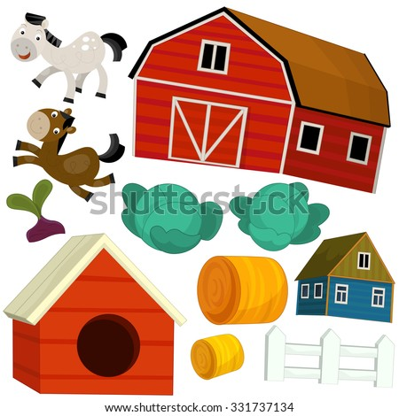 Cartoon farm set - illustration for the children - stock photo
