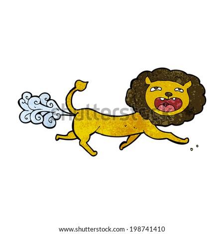 cartoon farting lion - stock photo