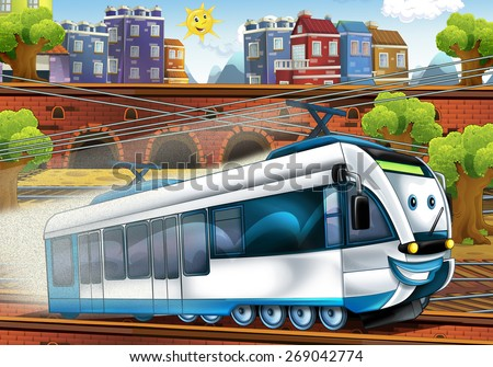 Cartoon fast train - train station - illustration for the children - stock photo