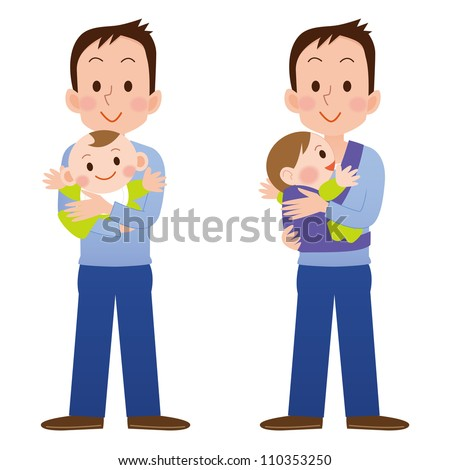 Cartoon father holding and playing with his baby - stock photo