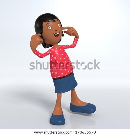 Cartoon female Asian professional office worker in skirt blocking ears - hear no evil - stock photo