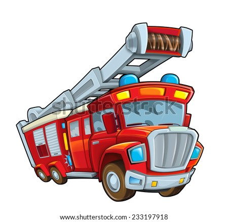 Cartoon firetruck - illustration for the children - stock photo
