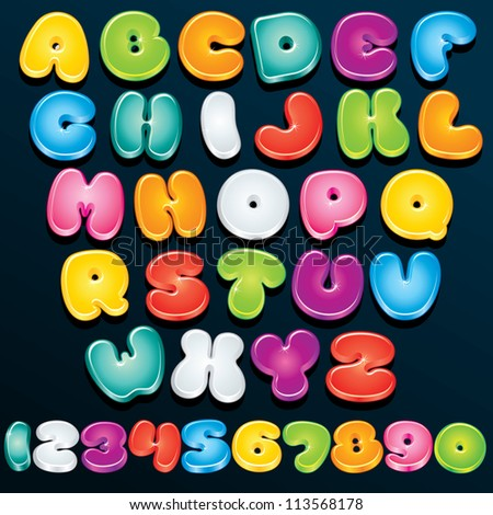 Cartoon Font. Multicolored Letters and Numbers - stock photo