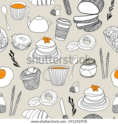 Cartoon food seamless pattern. Hand drawn background for kitchen and cafe stuff  - stock photo