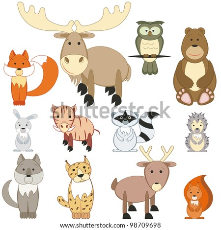 Cartoon forest animals set on white background (raster version) - stock photo