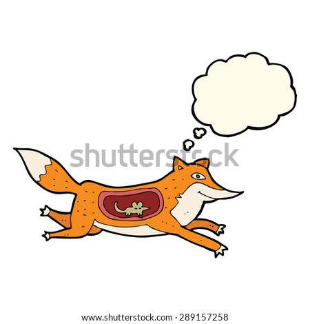 cartoon fox with mouse in belly with thought bubble - stock photo