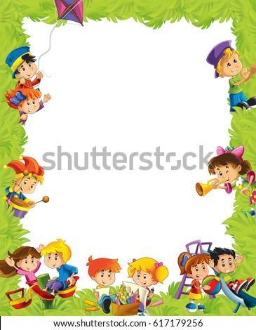 Cartoon Frame Children Having Fun Playing Ilustración de ...