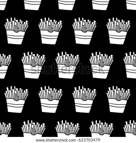 Cartoon French Fries Pattern With Hand Drawn Cute Doodle Black And White