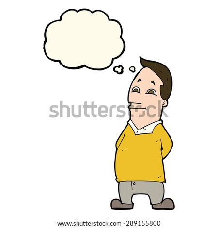cartoon friendly man with thought bubble - stock photo