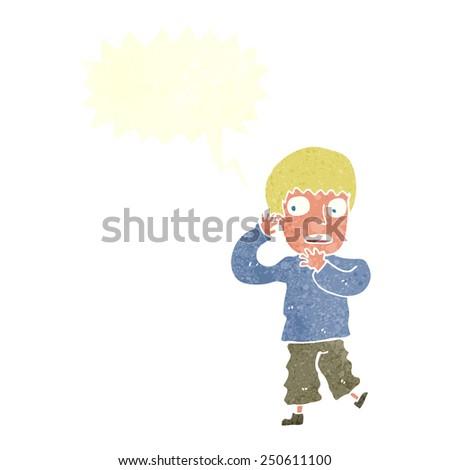 cartoon frightened boy with speech bubble - stock photo