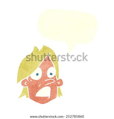 cartoon frightened face with speech bubble - stock photo