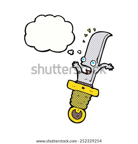 cartoon frightened knife with thought bubble - stock photo