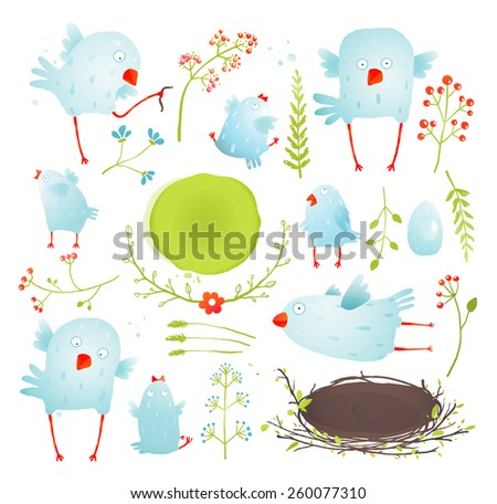 Cartoon Fun and Cute Baby Birds Collection. Brightly Colored watercolor style birdies collection. Raster variant. - stock photo