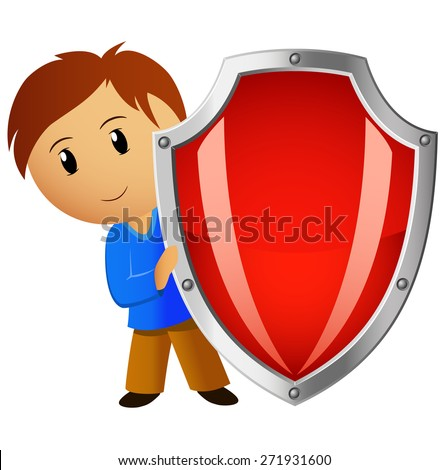 Cartoon funny boy with red shield isolated on white - stock photo