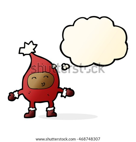 cartoon funny christmas character with thought bubble