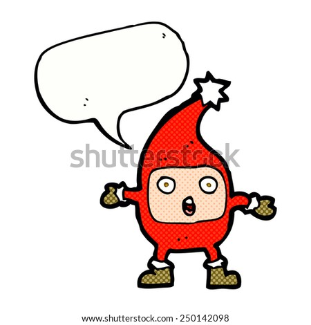 cartoon funny christmas creature with speech bubble