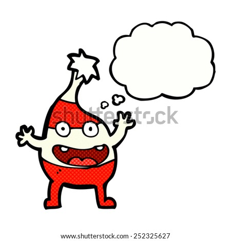 cartoon funny christmas creature with thought bubble