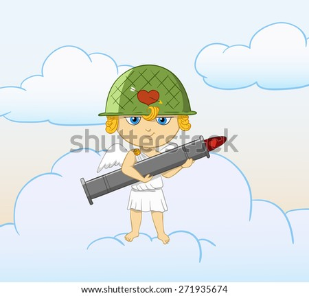 Cartoon funny cupid with armed valentine bazooka. Sky with clouds on background. - stock photo
