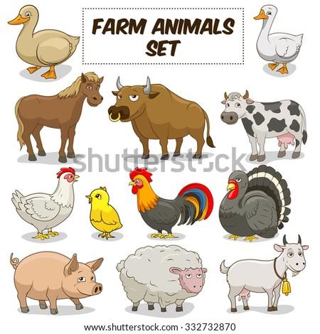Cartoon funny farm animals colorful set raster illustration - stock photo