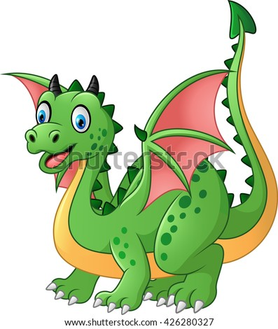 Cartoon funny green dragon