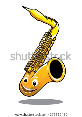 Cartoon funny happy brass saxophone musical instrument with a cute smiling face isolated on white - stock photo
