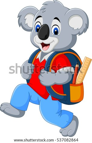 Cartoon funny koala with backpack