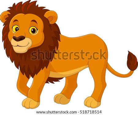 cartoon funny lion walking