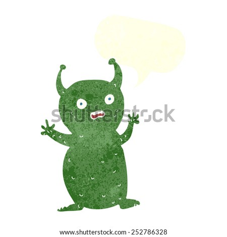 cartoon funny little alien with speech bubble