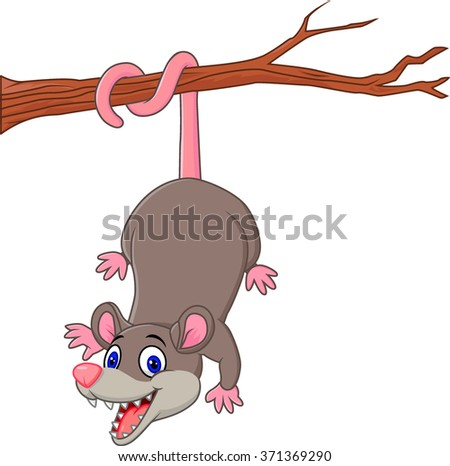 Cartoon funny Opossum on a Tree Branch - stock photo