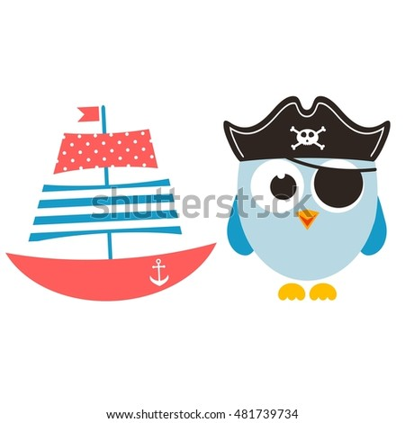 Cartoon funny owl and boat. Raster version