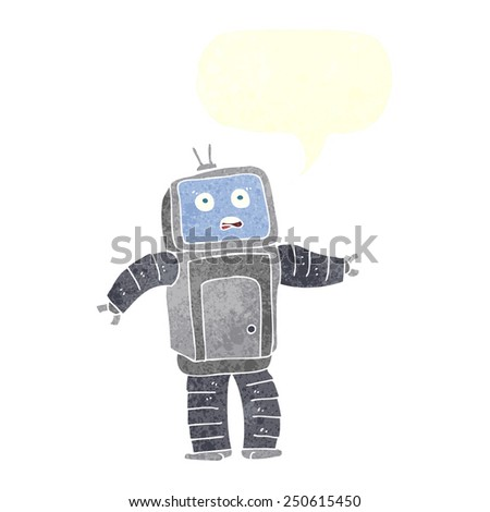 cartoon funny robot with speech bubble - stock photo