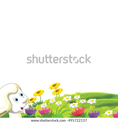 Cartoon funny sheep standing and watching - isolated - illustration for children