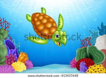 Cartoon funny turtle with beautiful underwater world - stock photo