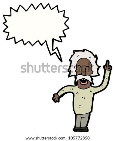 cartoon genius with idea - stock photo