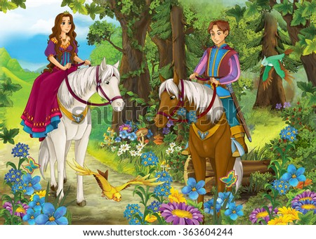 Cartoon girl and boy riding on a white horse - princess or queen - illustration for the children - stock photo