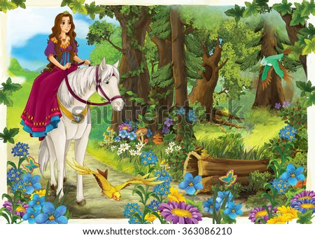 Cartoon girl riding on a white horse - princess or queen - illustration for the children - stock photo