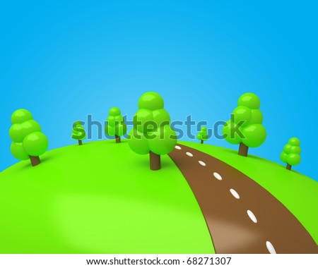 cartoon glade made of colored sugar with trees and chocolate road with a blue sky - stock photo